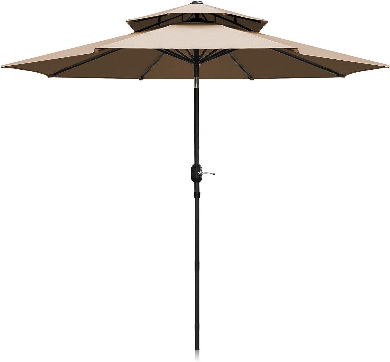 Patiassy Upgraded 9 Feet Double Top Outdoor Patio Umbrella