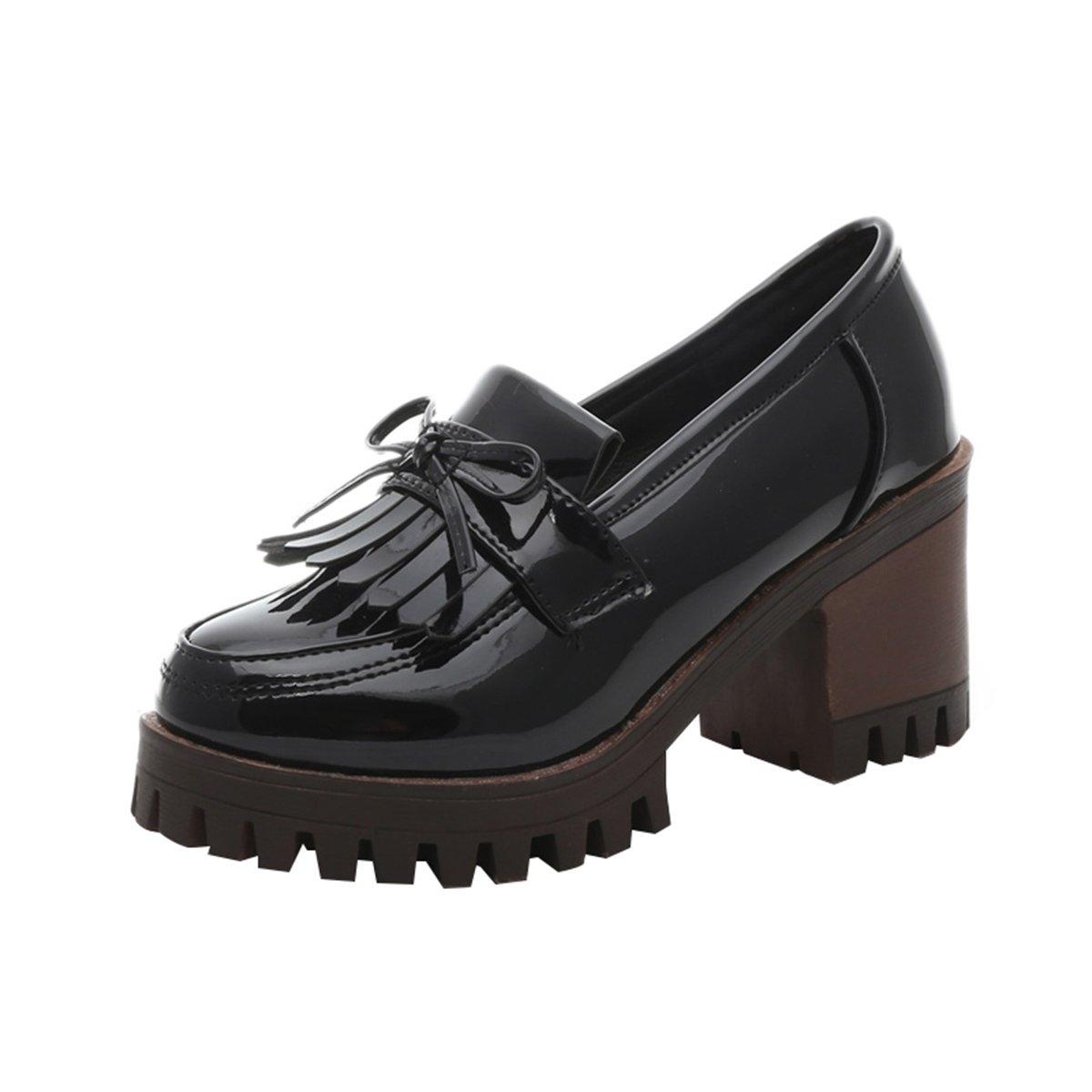 Dear Time Women Tassels Platform Mid Chunky Heels Oxfords Shoes by Black US 7.5