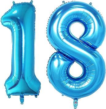 Huture 2 Globos Número 18 Figuras Globo Inflable de Helio Globos Grandes de Aluminio Mylar Globos Azul Gigantes Número Globos 40 Pulgadas para Fiesta de Cumpleaños decoración graduación XXL 100cm