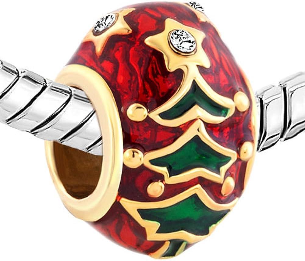 pupazzo di neve e cane con cappello rosso adatte per braccialetti con charm Perline Uniqueen Jewellery a forma di albero di Natale