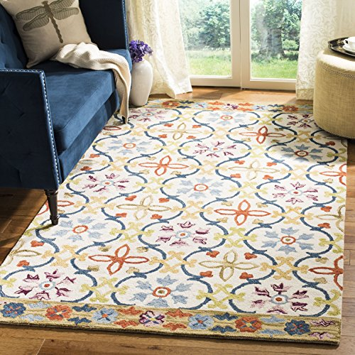 Safavieh Suzani Collection SZN310B Hand-Hooked Ivory and Multi Wool Area Rug (5' x 8')