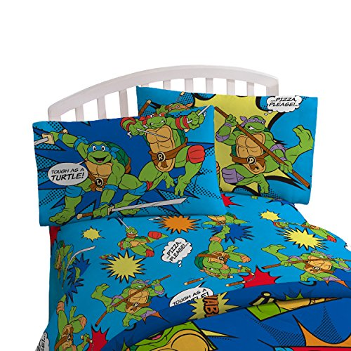 Nickelodeon Teenage Mutant Ninja Turtles Heroes Blue 3 Piece Twin Sheet Set (Official Nickelodeon Product) (Bed Sheets Turtle)