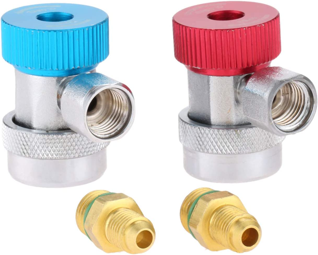 2Pcs R134A Car Air Quick Coupler Connector Refrigerant Quick Couplers 90/° Low /& High Side Adapter Aramox Air Quick Coupler