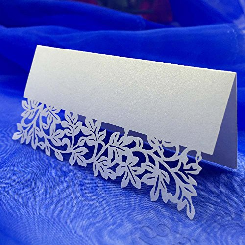 Carved Flower Vine Table Mark Name Place Card for Wedding Birthday Banquet Decoration (Vine Place Card)