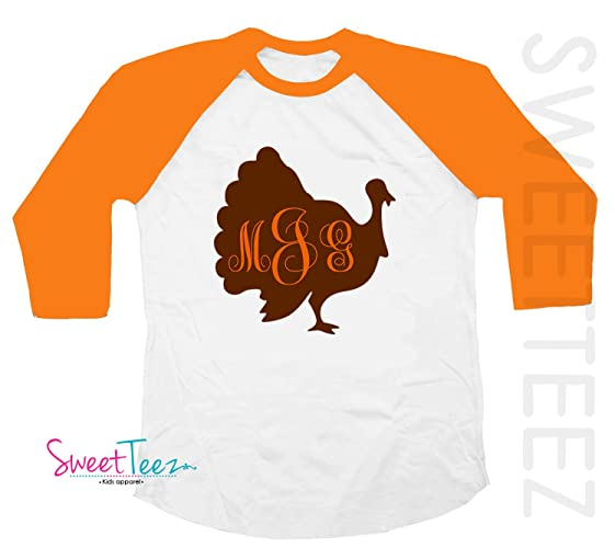9bdc8e8b Amazon.com: Turkey Shirt Personalized with Monogram Thanksgiving Shirt  Orange Raglan Shirt For Girl or Boy: Handmade