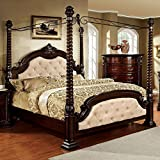 Monte Vista Luxury Style Ivory Leatherette Queen Size Canopy Bed