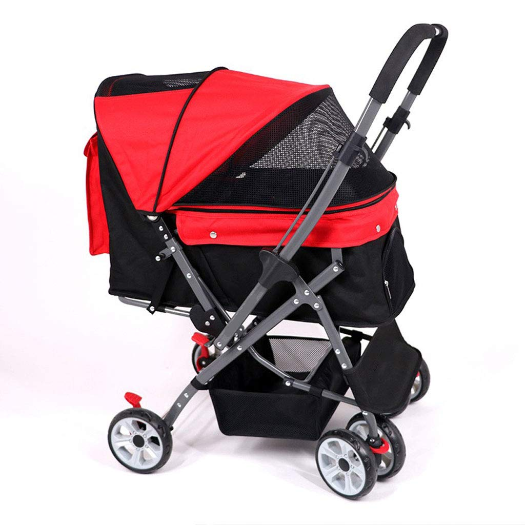 C NYJ Pet Trolley Cart Foldable For Dogs Cats With Four Wheels Shockproof Front Wheel 360 Degree redation Pet Travel Stroller One Touch To Assemble With Storage Basket For 30kg (color   C)