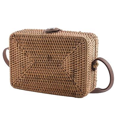 Amazon.com: Bolso de mimbre tejido a mano para mujer, bolso ...