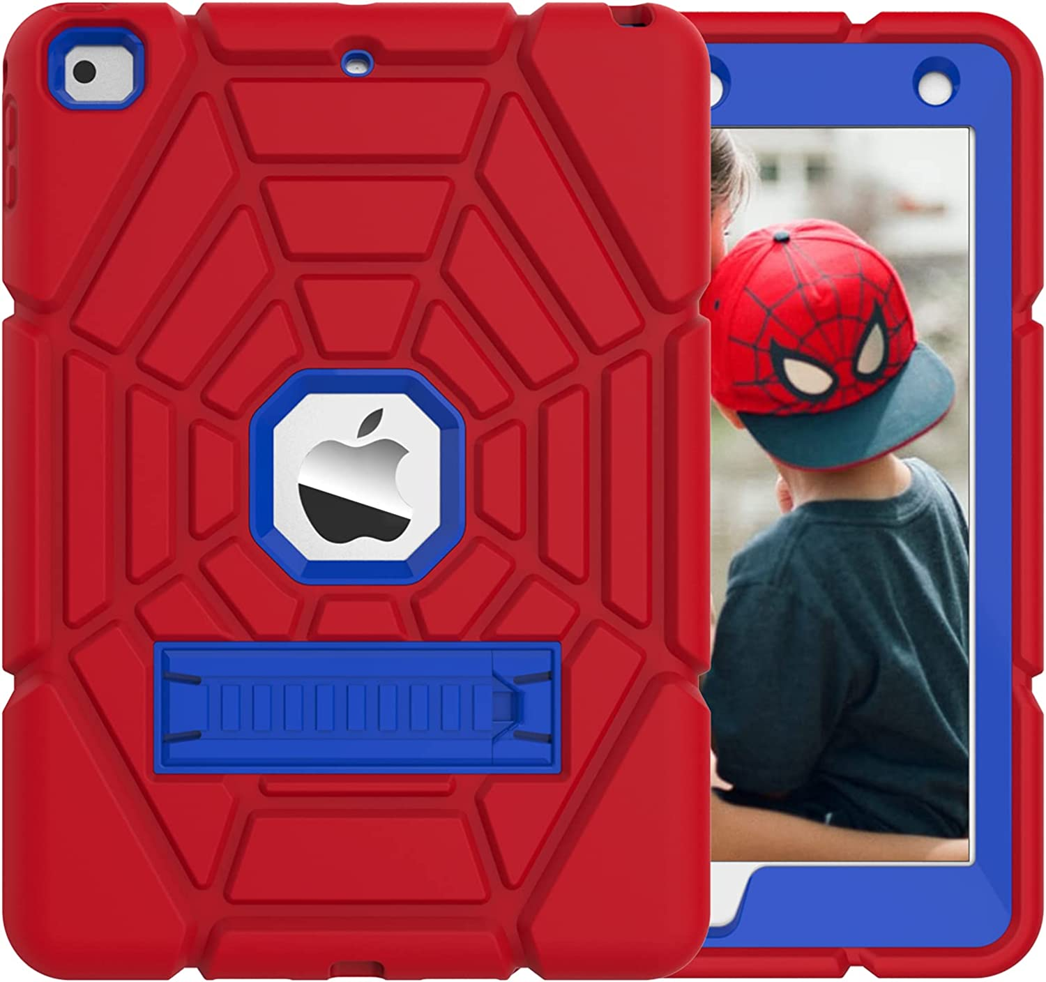 Grifobes iPad Mini Case 5th Generation,iPad Mini 5 Case for Kids,Heavy Duty Protective Shockproof Rugged Case Cover with Kickstand,High Impact Full Body Protective Cover for iPad Mini 5/4 -Red+Blue