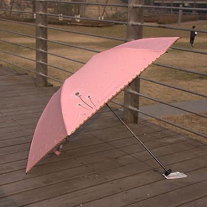 Paraguas &Doble Sombrilla de Fibra de Carbono Ligera Plegable Sombrilla de Lluvia Solar Completa (Color