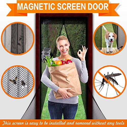 """Magnetic Screen Door Mesh Screen Door, 34""""x82"""" MAX Full Frame Velcro Fly Mosquitos Bug Insect Screen for Sliding Glass Door French Door Patio Door, Full Frame Hook & Loop (Screen Doors For French Patio Doors)"""