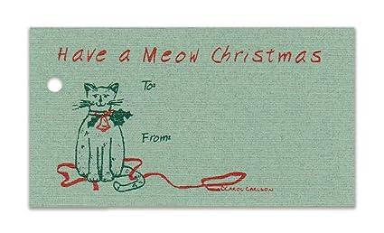 Amazoncom 15 Tags Meow Cat Christmas Sage Gift Tags Strings