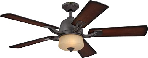 Westinghouse Lighting 7201800 Ripley Two-Light 52-Inch Reversible Five-Blade Indoor Ceiling Fan