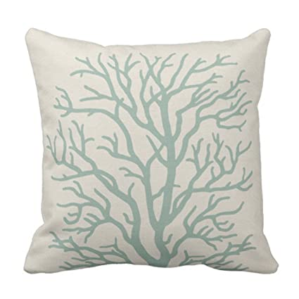 Amazon Emvency Throw Pillow Cover Tan Reef Coral Tree In Classy Seafoam Decorative Pillows