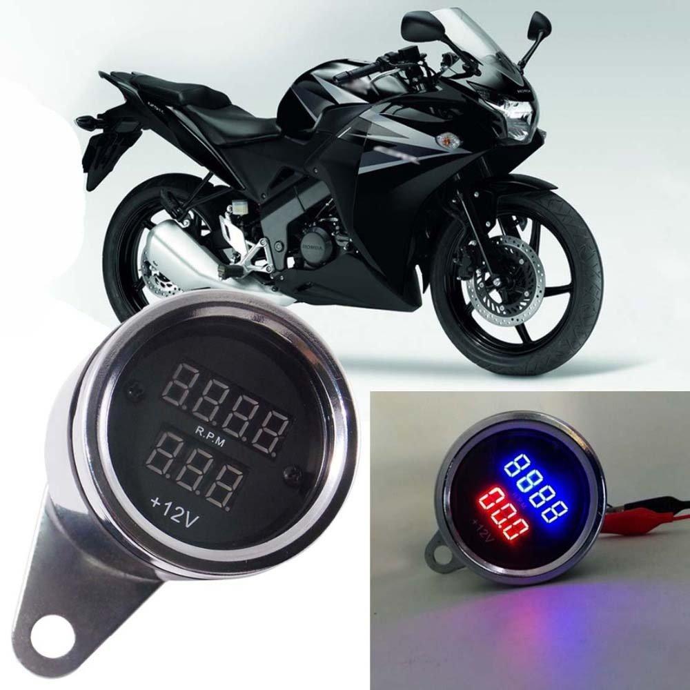 NT Motorcycle Led Digital Tachometer RPM Tach Gauge Voltmeter Voltage Gauge Metal Case for Honda Suzuki