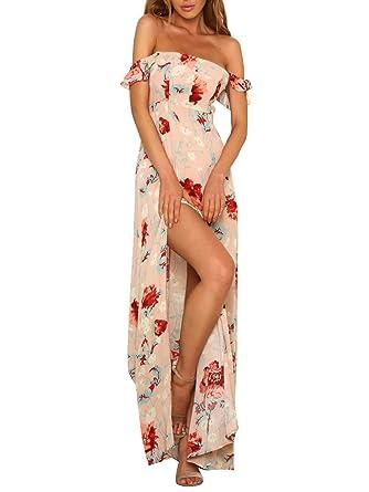 Missy Chilli Damen Lang Kleid Sommer Elegant Off Shoulder Rose ...