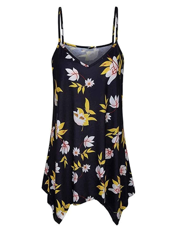 Yidarton Damen Sommer /Ärmellos V-Ausschnitt Shirt Bluse Tops Spaghetti Strap Swing Tank T-Shirt Oberteile