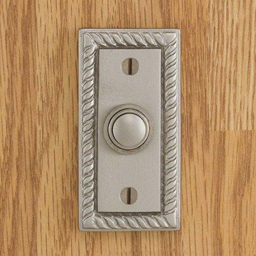 Casa Hardware Solid Brass Rectangular Doorbell with Push Button in Brushed Nickel Finish (Doorbell Rectangular Button)