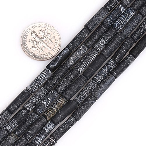 Black Agate Beads for Jewelry Making Natural Gemstone Semi Precious 4x13mm Matte Frosted Column Tube 15