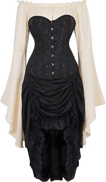 Amazon.com: Steampunk Corsé Vestido para Mujer Bustier ...