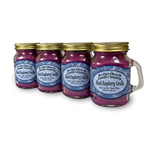 Our Own Candle Company Black Raspberry Vanilla Scented Mini Mason Jar Candle, 3.5 Ounce (4 Pack)