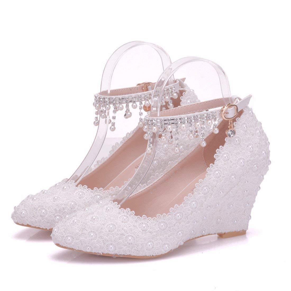 Qiusa Frauen Spitze Blaumen besetzt Wedge High High High Heel Knöchel Ketten weiß Hochzeit Schuhe UK 5.5 (Farbe   - Größe   -) 97fec5