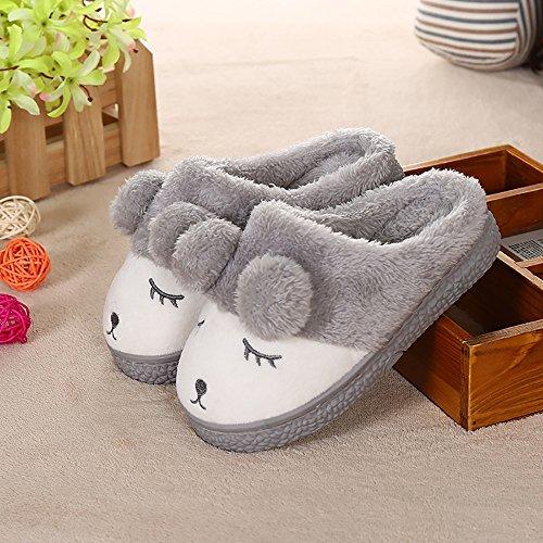 zealux cómodo–Zapatillas de casa de algodón y zapatillas de casa Zapatillas de ligera gris
