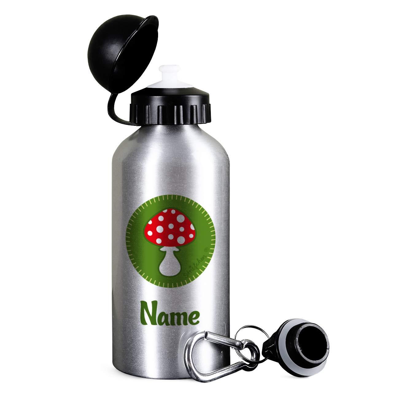 Gl/ückspilz Wunschnamen Silber Striefchen/® Kinder Trinkflasche