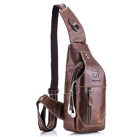f6110b3b1892bf Amazon.com: QUORA Men Genuine Leather Business Casual Brown Black Shoulder  Crossbody Bag as: Automotive