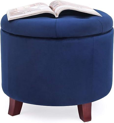 Edeco 20.3″ Round Storage Ottoman Tufted Fabric Footstool