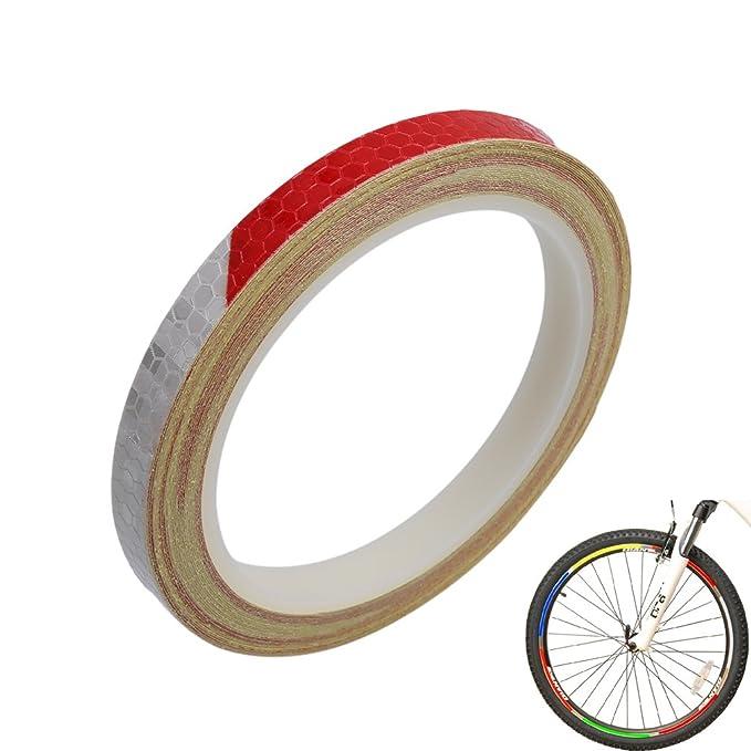 Hengsong rojo blanco 8 M MTB Road Ciclismo ruedas Rim bicicleta advertencia reflectante luz banda pegatinas DIY rayas pegatinas para Bike Moto Coche: ...