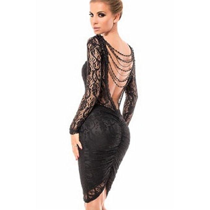 fe5c2ef26aad Mela Proibita - Vestito donna corto mini abito nero manica lunga in pizzo  trasparente cerimonia - Nero