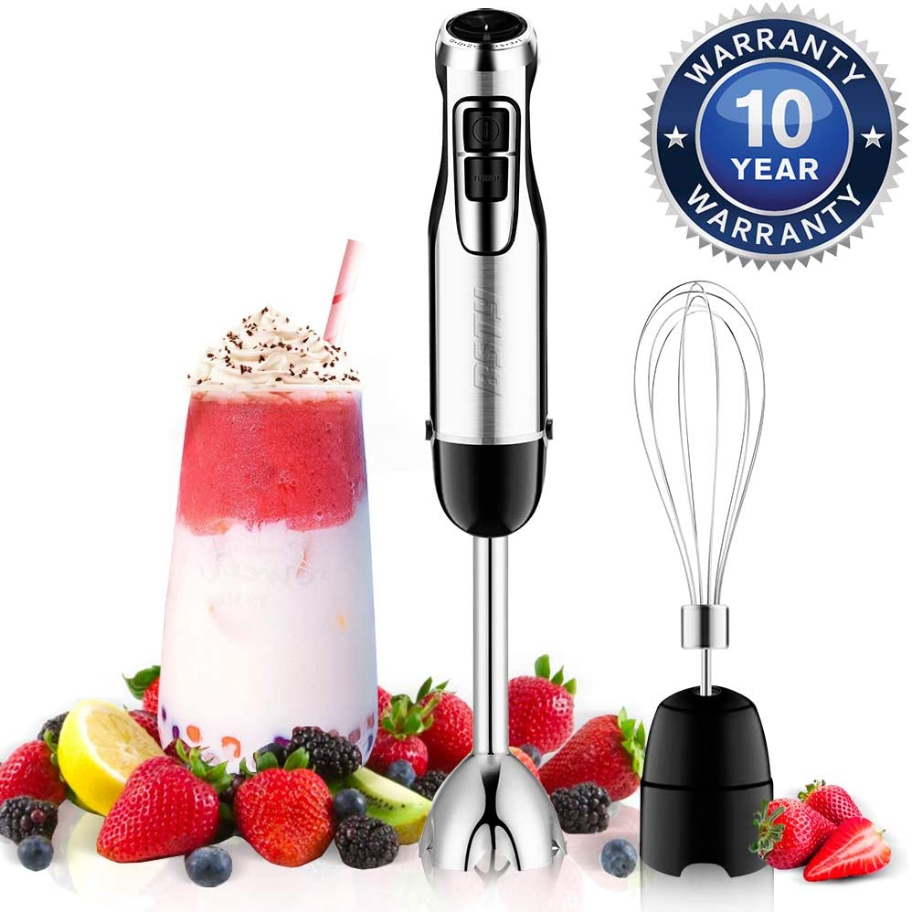 BSTY 2-in-1 Hand Blenders Set 15-Speeds Powerful Immersion Blender with 500-Watt Motor and Turbo Boost Button for Maximum Power Hand Held Blenders