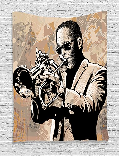 Jazz Music Decor Tapestry Wall Hanging by Ambesonne, Grunge Style Illustration of an African Musician with Sunglasses Playing Trumpet , Bedroom Living Room Dorm Decor, 60 W x 80 L - African Sunglasses