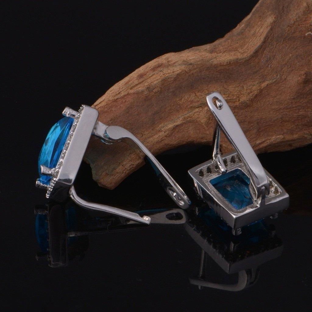 KnSam Women Platinum Plate Pierced Stud Earrings Rectangle Blue Crystal Rhinestone Novelty Earrings