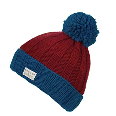 c24cfae30f5 Kusan Moss Yarn Turn Up Bobble Beanie Hat (PK1525) (Blue Red ...