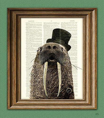Dictionary Page Art Print Aristocrat WALRUS with a top hat, monocle, and fancy watch illustration beautifully upcycled book art print