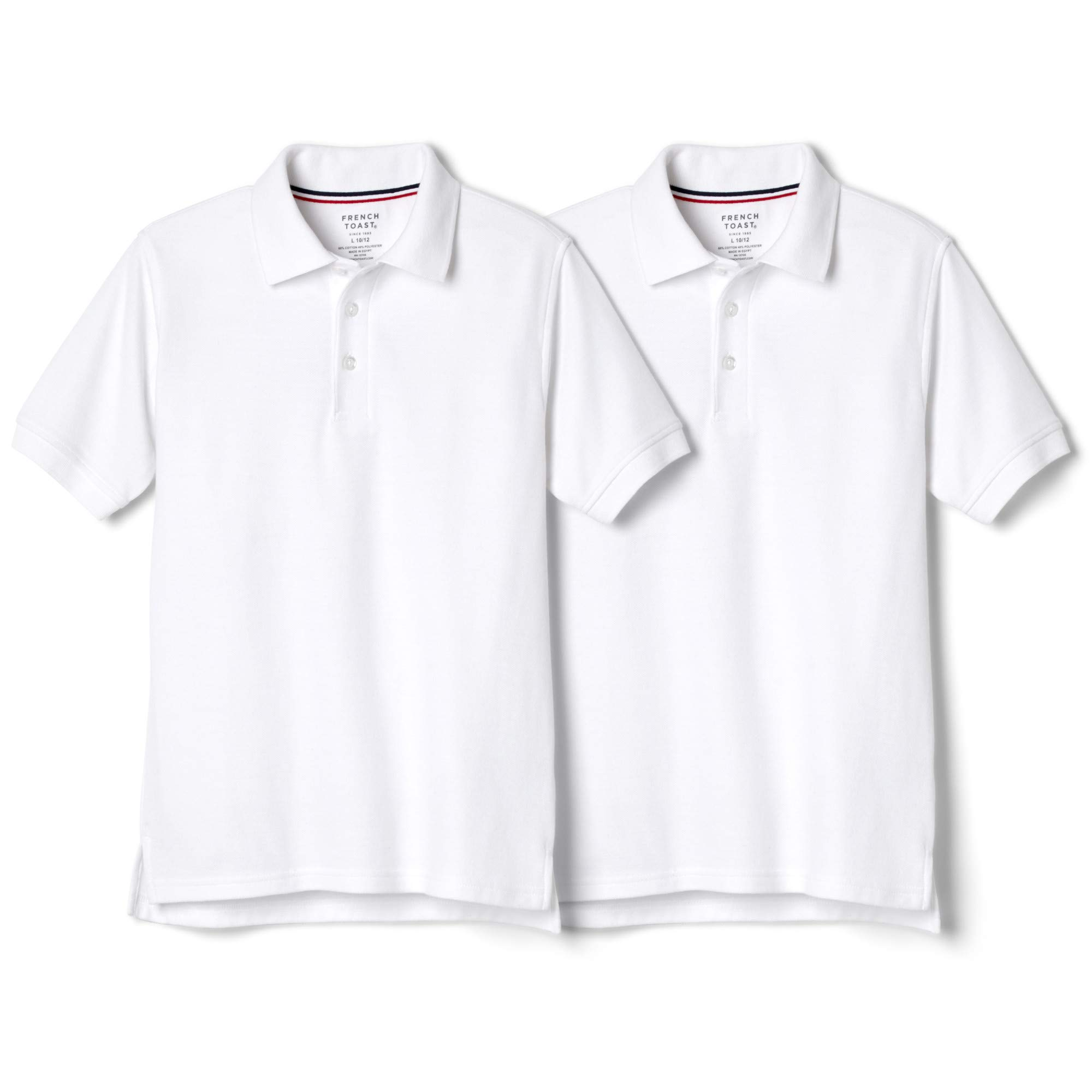 French Toast Boys' Big 2-Pack Short Sleeve Pique Polo Shirt, White, M (8)