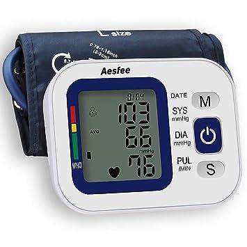 Tensiómetro de Brazo Digital Recargable USB, Monitor Eléctrico de Presión Arterial Medición Automática de la Presión Arterial y Latido Cardíaco para ...