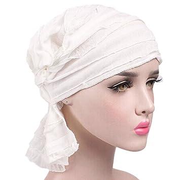 Hehong para Mujer para Mujer con Volantes Chemo Hat Beanie Bufanda Turban Headwear Turbante musulmán Headwear