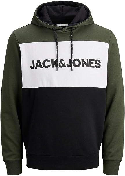 JACK /& JONES Jjelogo Blocking Sweat Hood STS Felpa con Cappuccio Uomo