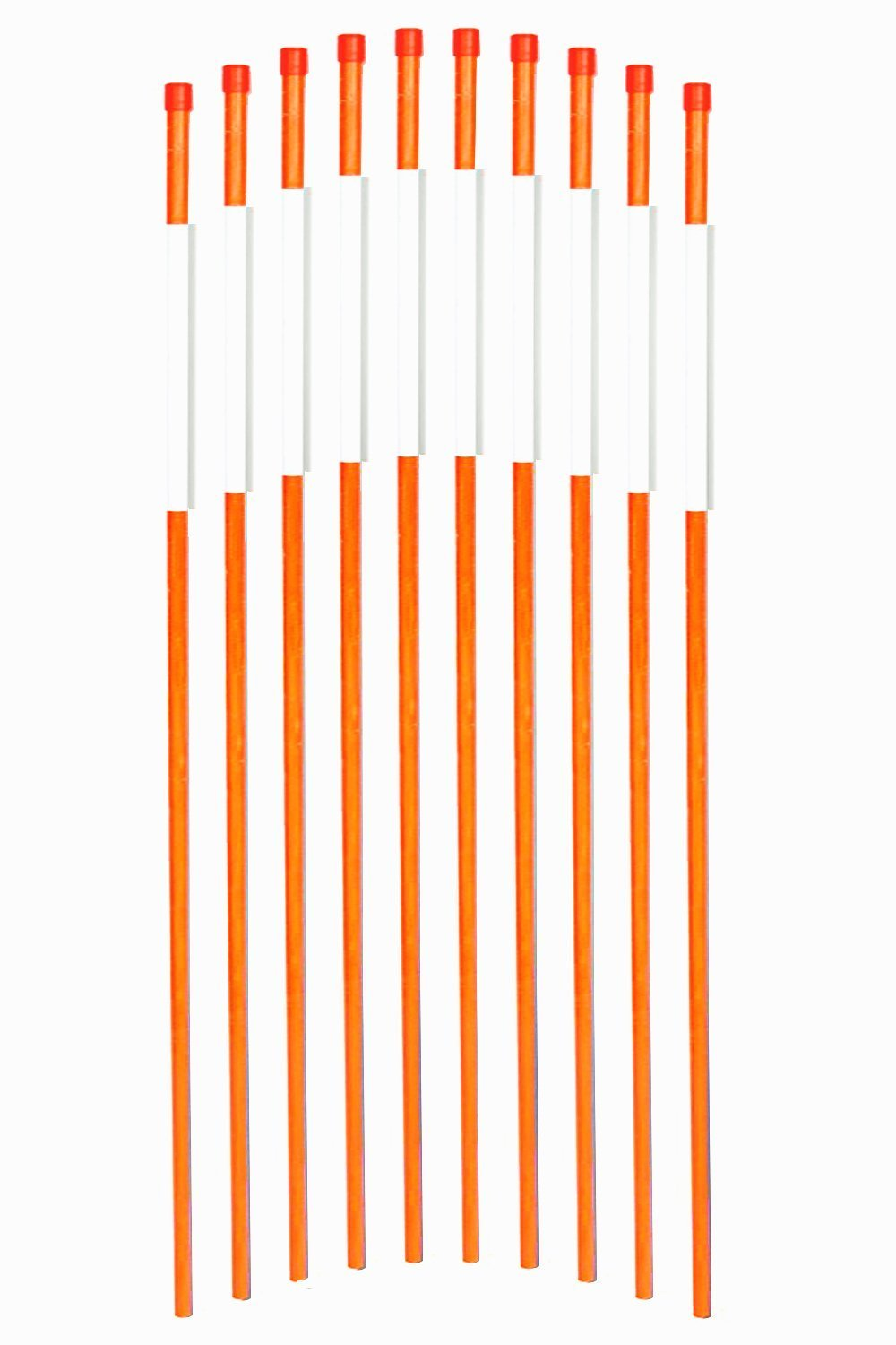 FiberMarker Hollow Reflective Driveway Markers 72-Inch 50-Pack Orange 5/16-Inch Dia Driveway Poles Easy Visibility at Night