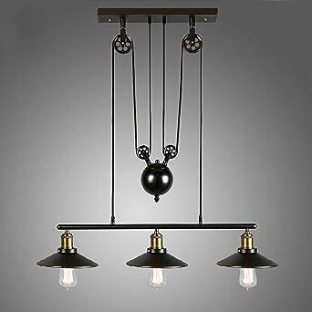 Homestia Lustre Industriel A 3 Lampes Avec Poulie En Fer Effet Retro