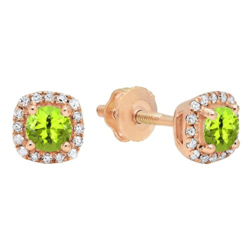 Dazzlingrock Collection 10K 3.5 MM Each Round Gemstone White Diamond Ladies Halo Style Stud Earrings, Rose Gold