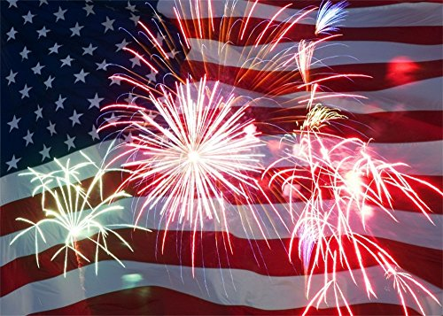 Leowefowa 10X8FT National Day Backdrop American Flag Firewoeks Backdrops for Photography Independence Day Vinyl Photo Background Kids Adults Labor Day Studio Props