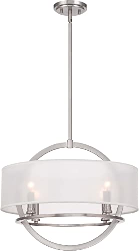 Quoizel PTD2820BN Portland White Organza Pendant Ceiling Lighting