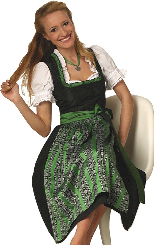 Klassisch edles Midi-Dirndl HELENE schwarz-grün oder bordeaux-silbergrau, 2tlg.