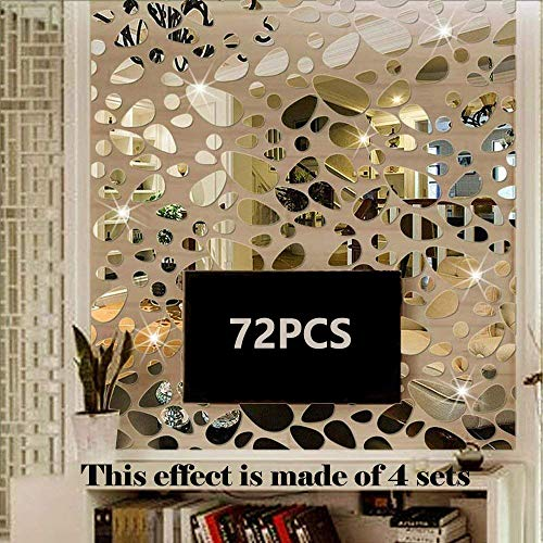 TTSAM 72PCS Silver Mirror Decals Acrylic Cobblestone Shape Wall Stickers [18PCS4 Set], -