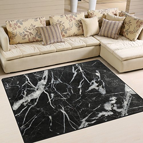 YZGO Black Marquina Marble Stone Kids Area Rug,Abstract Marbles Non-Slip Floor Mat Soft Resting Area Doormats for Living Dining Bedroom 5.3' x 4'