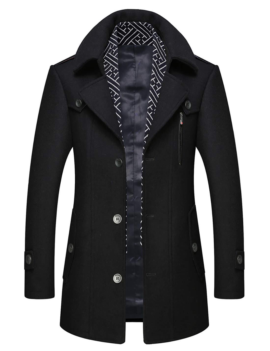 zeetoo Men's Wool Peacoat Winter Buttons Jacket Windproof Classic Pea Coat Black X-Small by zeetoo
